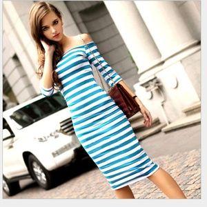 Dresses & Skirts - Blue Striped Dresses Maxi Dress Strapless Sundress